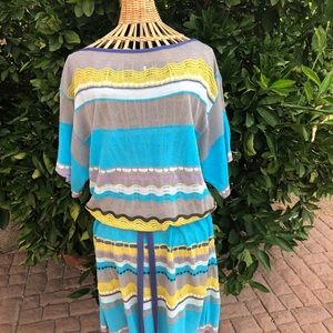 Missoni dress zigzag multicolor blue, grey, yellow